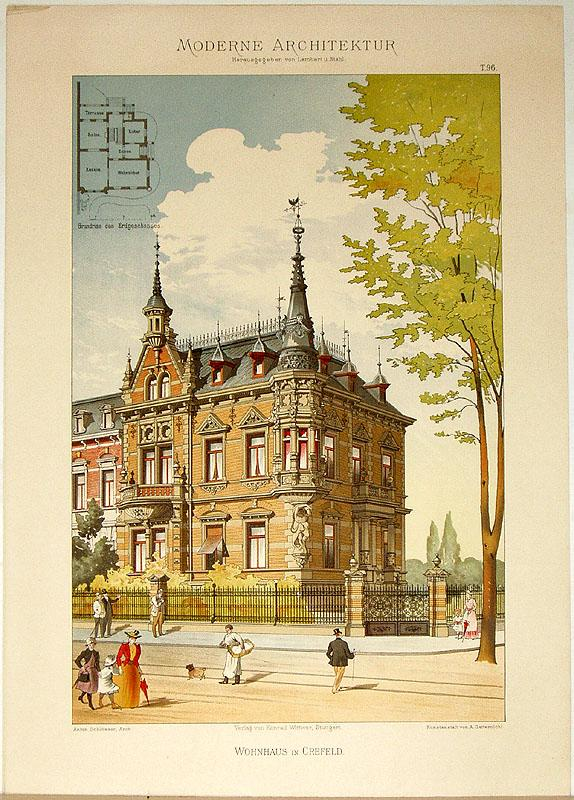 Wohnhaus in Crefeld [Krefeld]. [Ausgeführt von Anton: Lambert, André; Stahl,