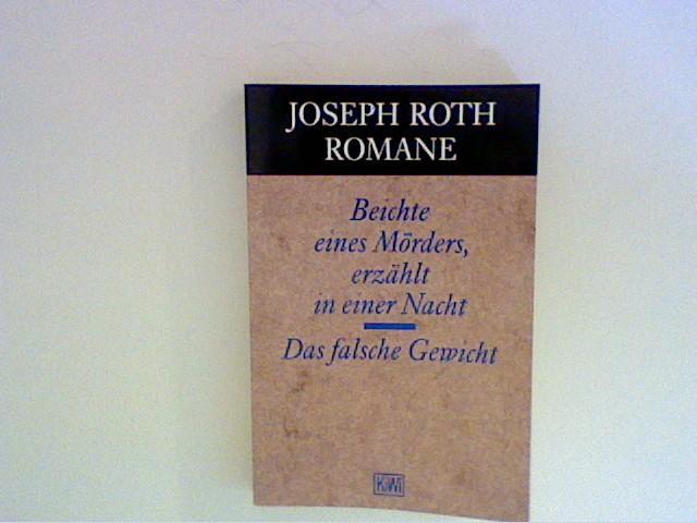 Beichte eines Mörders, erzählt in einer Nacht: Roth, Joseph: