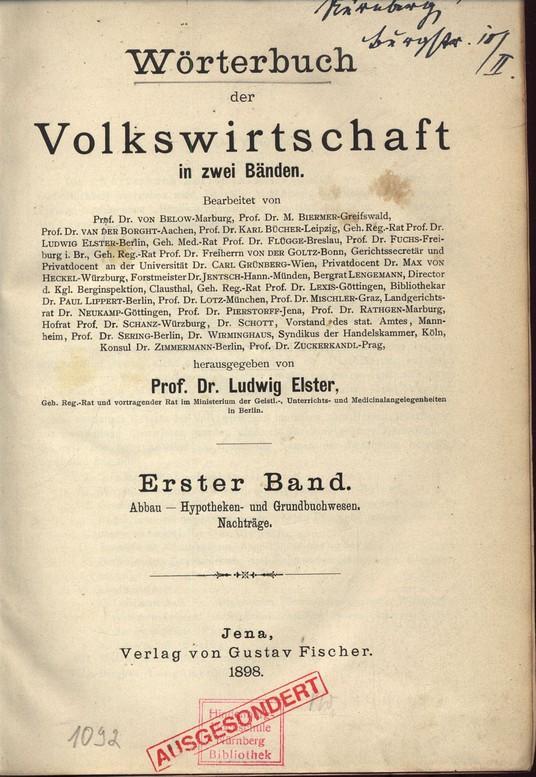 Wörterbuch der Volkswirtschaft - in zwei Banden.: Elster, Ludwig [hrsg.]: