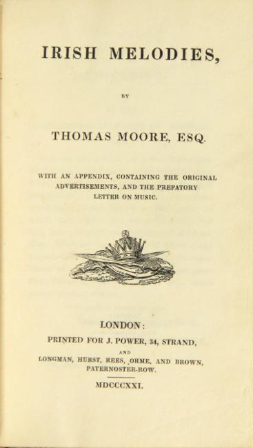 Irish melodies . with an appendix, containing: Moore, Thomas