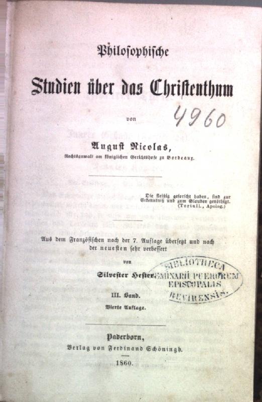 Philosophische Studien über das Christenthum: DRITTER und: Nicolas, August:
