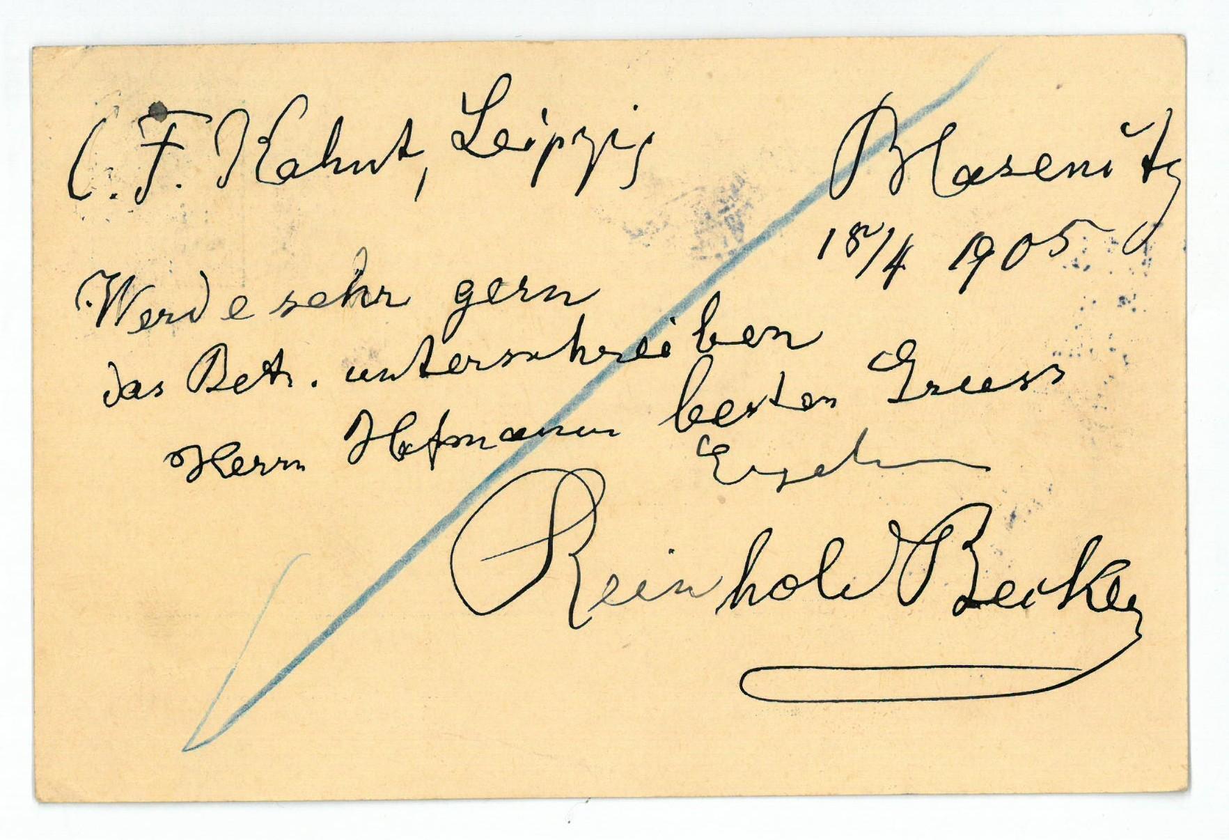 Eigenh. Postkarte mit U.: Becker, Reinhold, Komponist