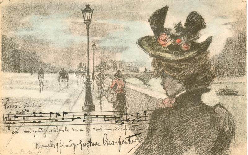 Eigenh. musikalisches Albumblatt mit U.: Charpentier, Gustave, Komponist
