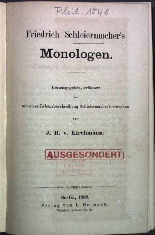 Friedrich Schleiermacher's Monologen.: Kirchmann, J. H.