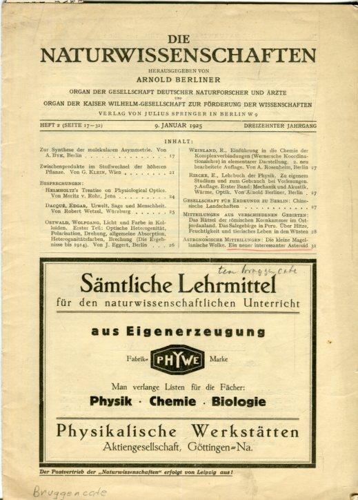 Die Naturwissenschaften. Organ der Gesellschaft deutscher Naturforscher: Berliner, Arnold (Hrsg.)