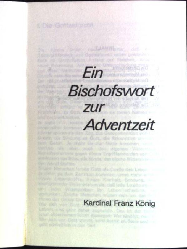 Ein Bischofswort zur Adventszeit: Buße und Bekehrung: König, Franz: