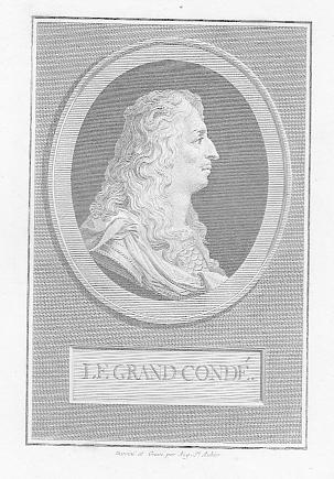 Porträt. Kopfdarstellung im Profil nach rechts. Kupferstich: Conde, Louis II.