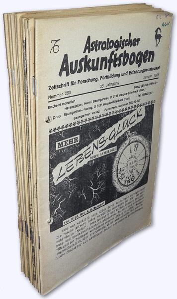 Astrologischer Auskunftsbogen. 25. Jhg. 1975, Nr. 283-292: Baumgartner, Hermi (Hrsg.):