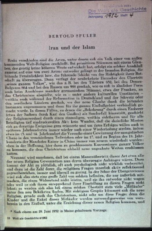 Iran und der Islam aus: Die Welt: Spuler, Bertold: