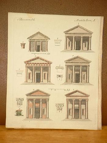 Baukunst I. Altkolorierter Kupferstich aus dem Bilderbuch: Bertuch, Friedrich J.