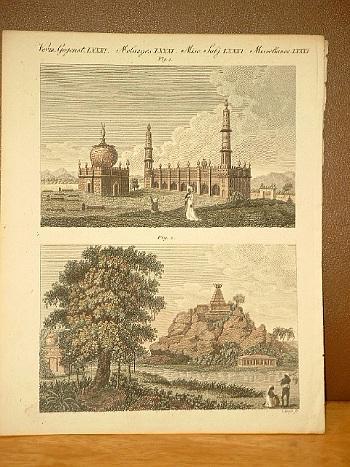 Moscheen und Pagoden in Hindostan. Altkolorierter Kupferstich: Bertuch, Friedrich J.