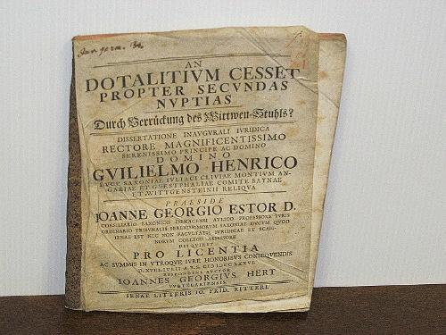 An dotalitium cesset propter secundas nuptias, durch: Estor, Johann Georg;