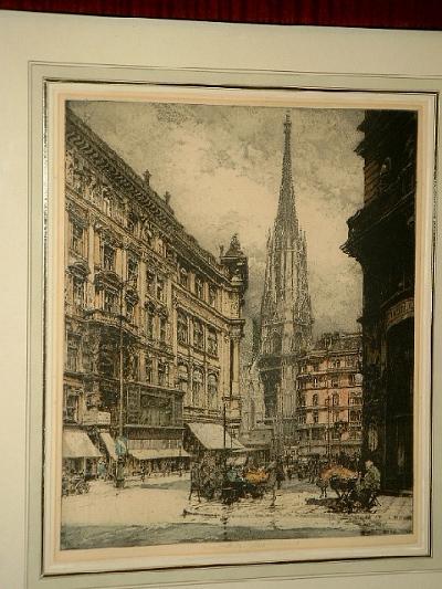 Wien. Blick auf den Stephansdom. Farbradierung.: Kasimir, Luigi (
