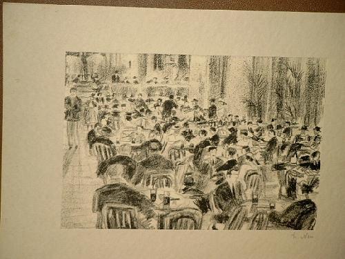 Kaffeehausszene im Freien an der Alster. Signierte: Neu, Ludwig (