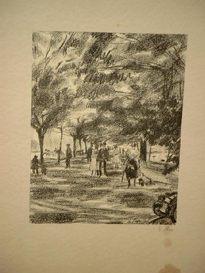 Spaziergänger an der Alster. Signierte Lithographie um: Neu, Ludwig (