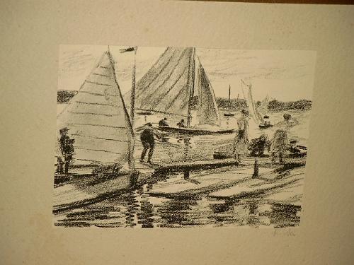 Segelboote auf der Alster. Signierte Lithographie um: Neu, Ludwig (
