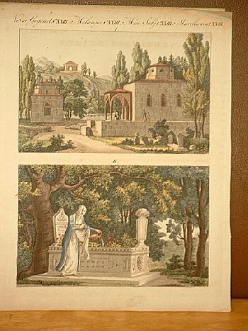 Türkische Gräber: Altkolorierter Kupferstich aus dem Bilderbuch: Bertuch, Friedrich J.