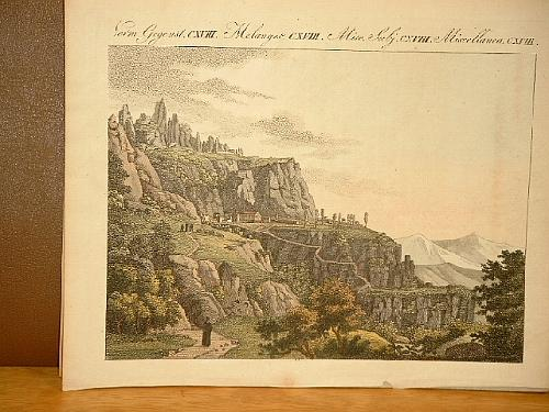 Der Montserrat in Spanien. Altkolorierter Kupferstich aus: Bertuch, Friedrich J.