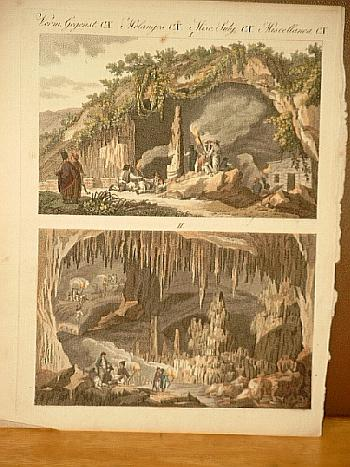 Die Grotte von Anti-Paros. Altkolorierter Kupferstich aus: Bertuch, Friedrich J.