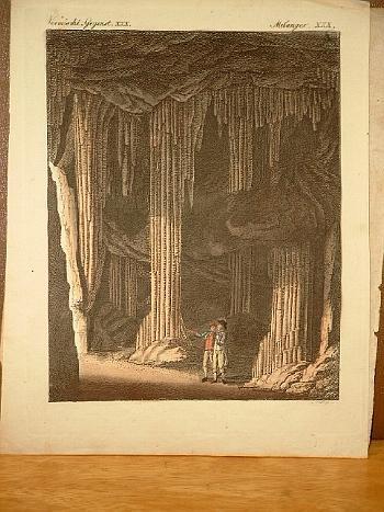 Die Tropfstein-Höhle bei Slains in Nordschottland. Altkolorierter: Bertuch, Friedrich J.
