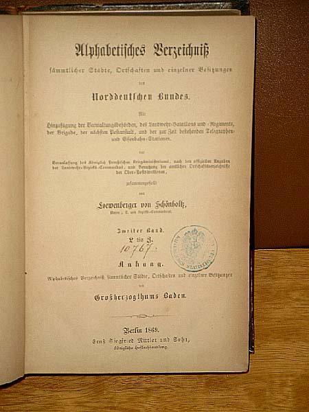 Alphabetisches Verzeichniß sämmtlicher Städte, Ortschaften und einzelner: Löwenberger von Schönholtz