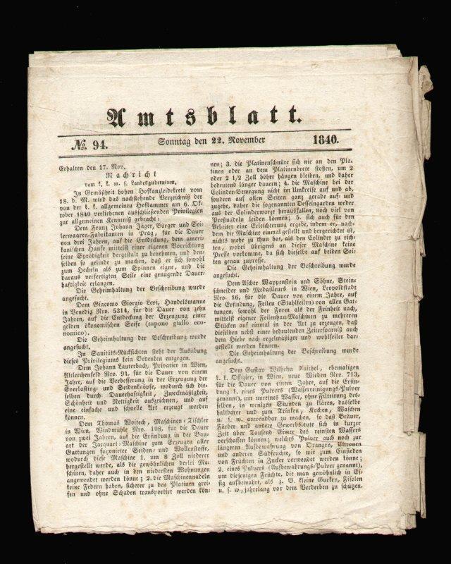Amtsblatt No. 94. Sonntag den 22. November: Amtsblatt - Wien
