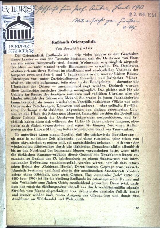 Rußlands Orientpolitik (SIGNIERTES EXEMPLAR) aus: Festschrift für: Spuler, Bertold: