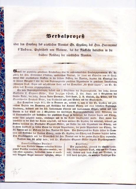 Verbalprozess über den Empfang des päpstlichen Nuntius: Hieronymus d'Andrea