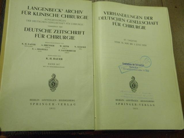 VERHANDLUNGEN DER DEUTSCHEN GESELLSCHAFT FÜR CHIRURGIE.- 67.: MEDIZIN.-