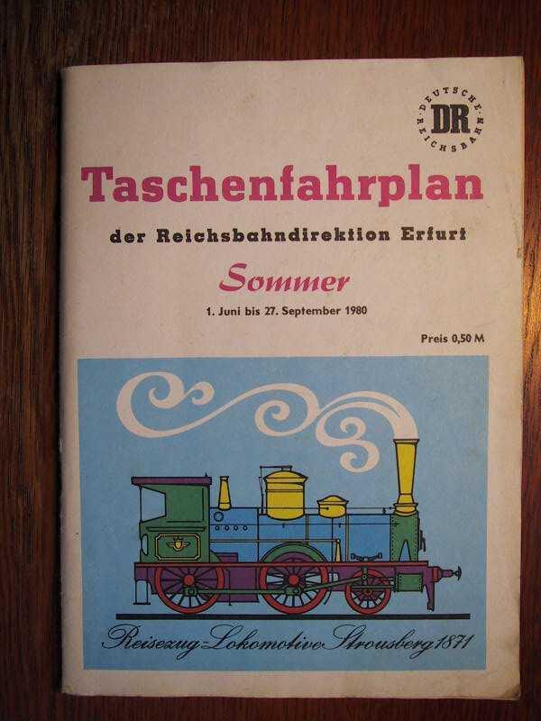 Taschenfahrplan der Reichsbahndirektion Erfurt - Sommerfahrplan 1980: DR - Deutsche