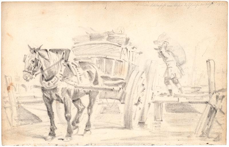 Mann, ein Kohlefuhrwerk beladend.: Deutscher Künstler 1822