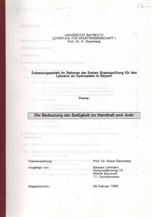 Die Bedeutung der Seitigkeit im Handball und: Lehmann, Barbara: