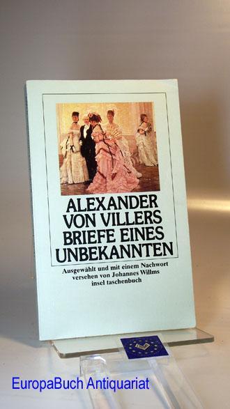 Briefe eines Unbekannten.: von Villers, Alexander: