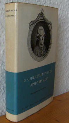 APHORISMEN. Hrsg. v. Max Rychner. Manesse Bibliothek: Lichtenberg, Georg Chr.: