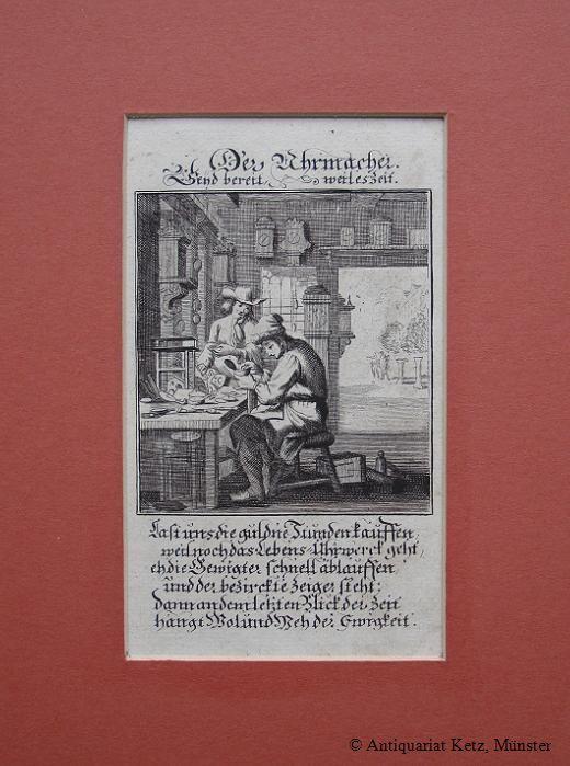 """Der Uhrmacher"""" - Kupferstich von Christoph Weigel.: Uhrmacher:"""