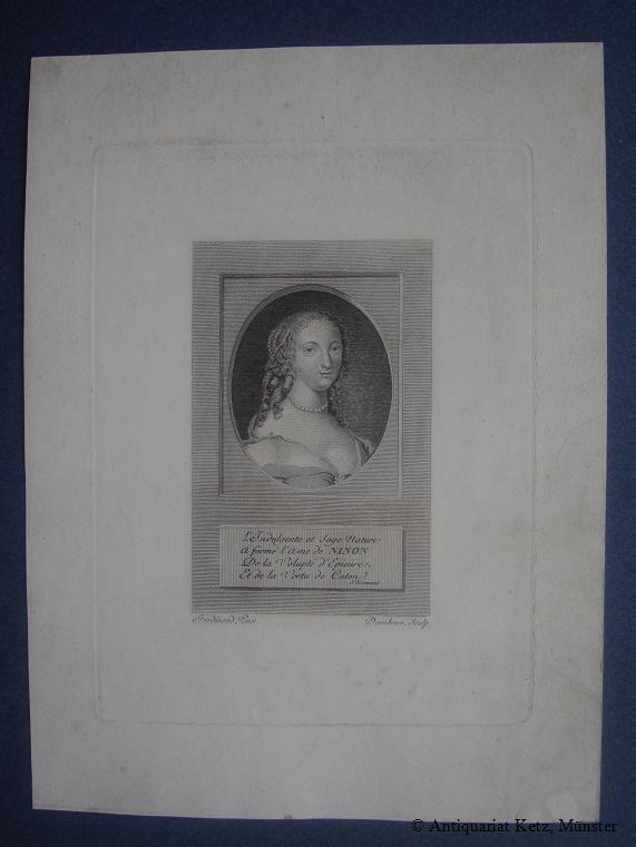 Portrait: Brustbild im Oval mit vierzeiligem Reim.: Ninon (de Lenclos):