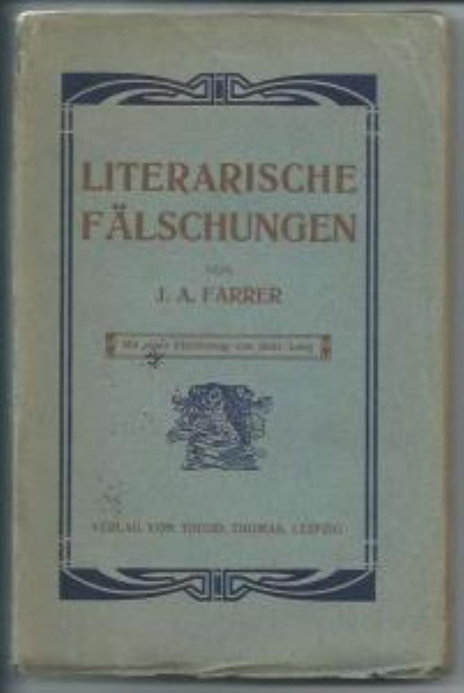 Literarische Fälschungen.: Farrer James Anson