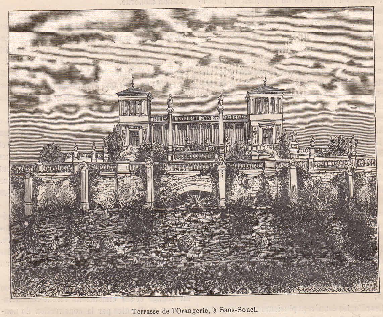 Die Terrasse der Orangerie in Sanssouci. Ansicht.: Potsdam,