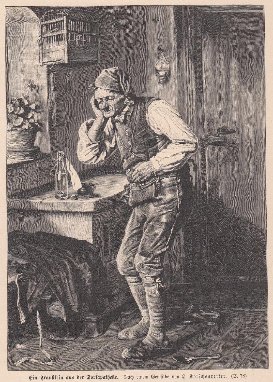 Ein Tränklein aus der Dorfapotheke. Alter Mann: Medizin,