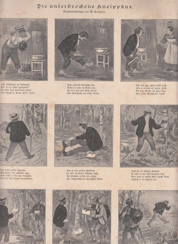 Die unterbrochene Kneipp-Kur. 9 humoristische Abbildungen auf: Medizin,