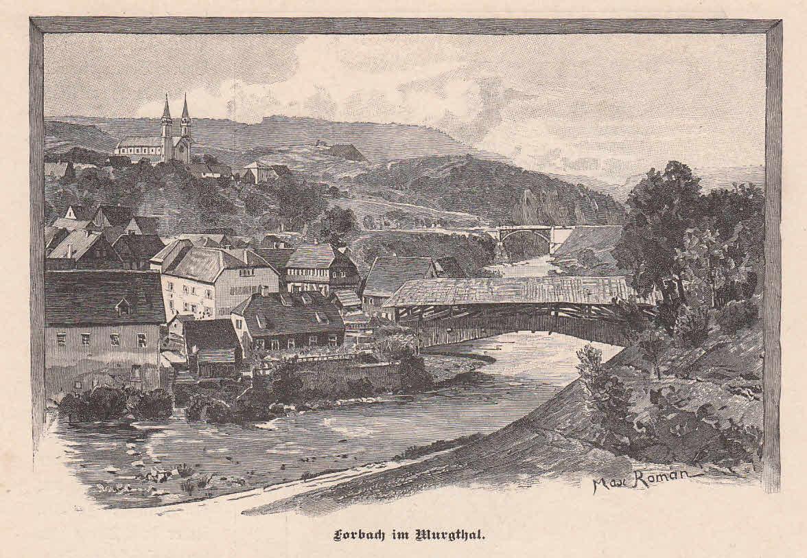 Schöne Ansicht mit der Murg im Vordergrund.: Forbach/Murgtal,
