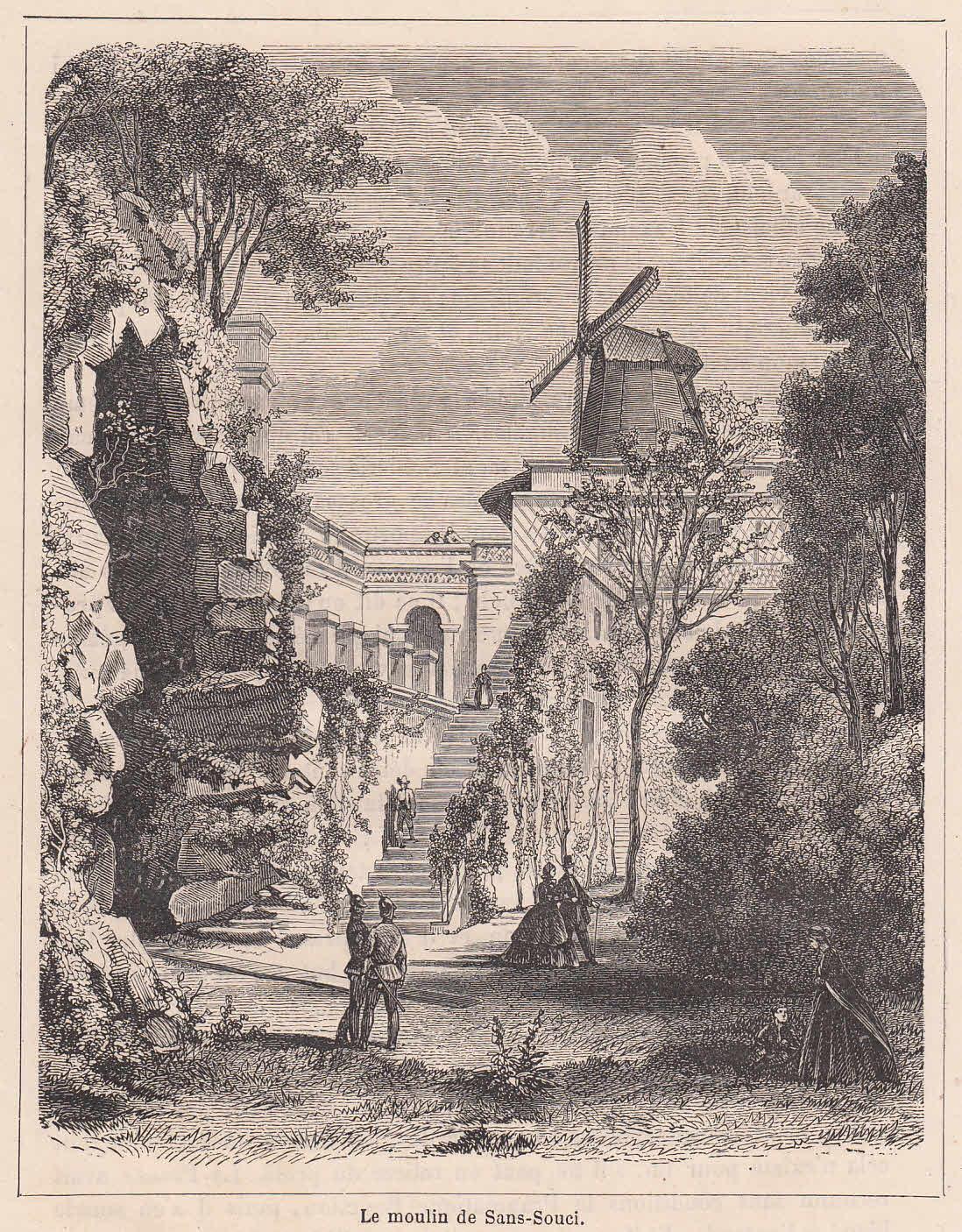 Windmühle in Sanssouci. Ansicht mit figürlicher Staffage.: Potsdam,