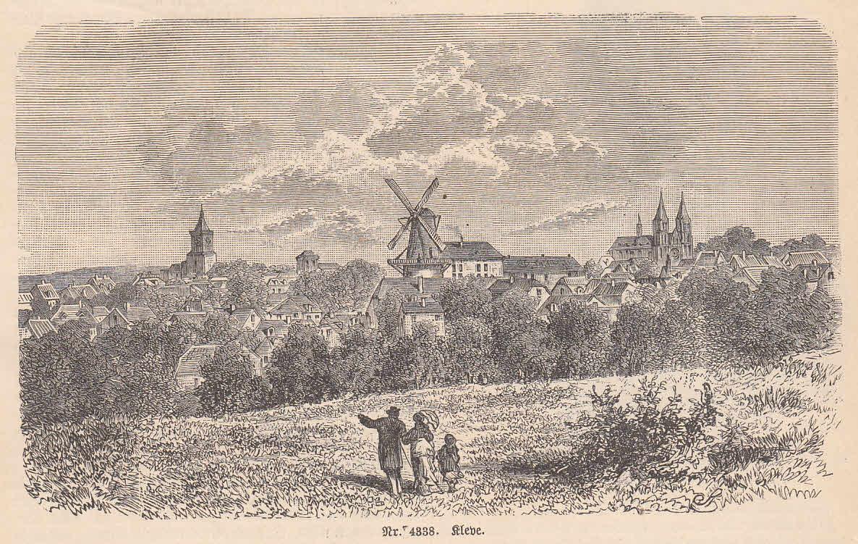 Ansicht mit der Windmühle, im Vordergrund Spaziergänger.: Kleve,