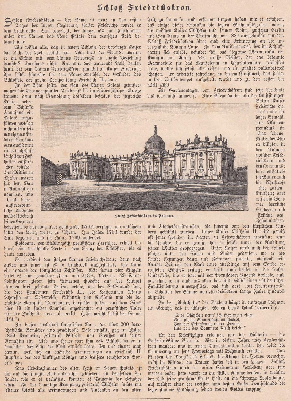 """Schloß Friedrichskron (ehemals """"Neues Palais"""") bei Potsdam.: Potsdam,"""