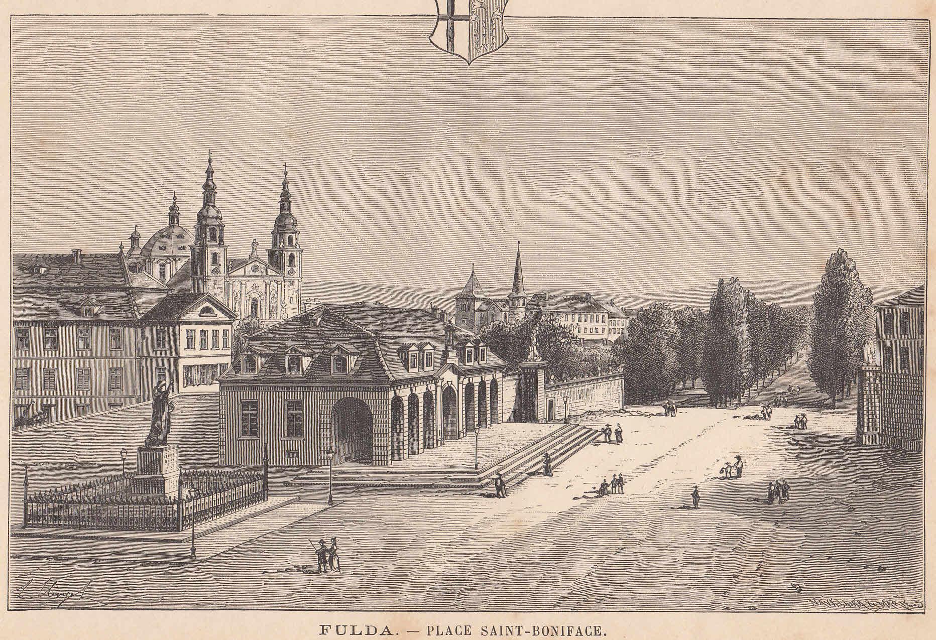 Der Bonifaziusplatz in Fulda. Schöne Ansicht.: Fulda,