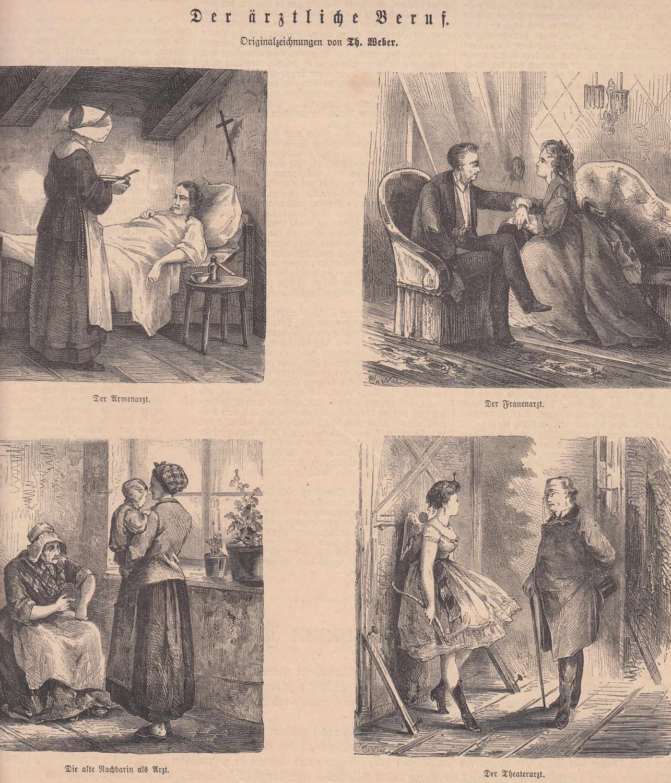 Der ärztliche Beruf. 4 Abbildungen auf einem: Medizin,
