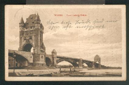 Ansichtskarte: Ernst Ludwig-Brücke. 0, s/w, I-II, 1915.: Worms,