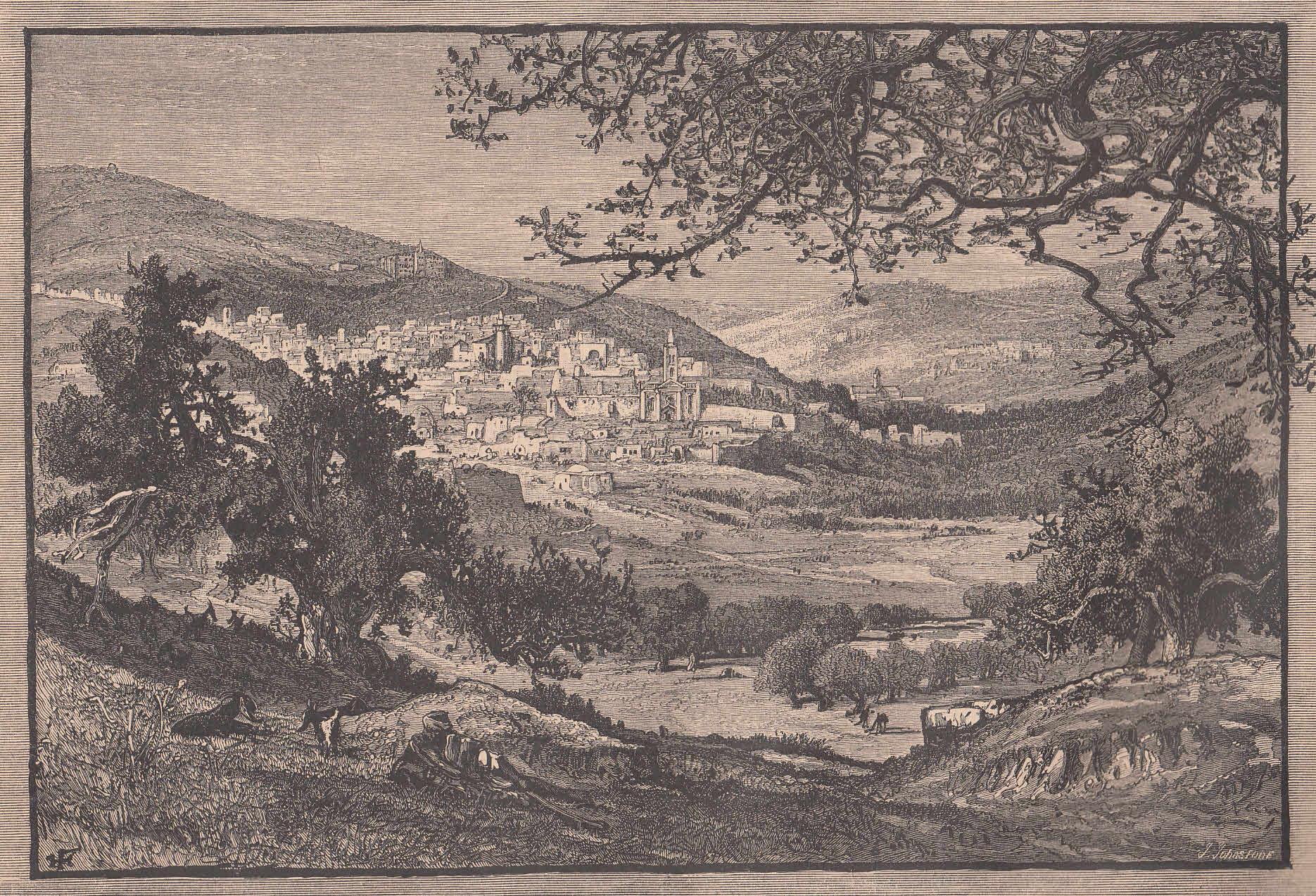 Sehr schöne Gesamtansicht vom Süden aus.: Nazareth,