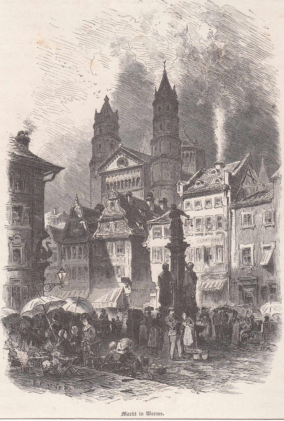 Marktplatz mit lebhaftem Markttreiben, im Hintergrund der: Worms,