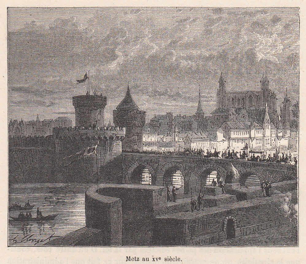 Teilansicht mit der Brücke.: Metz,